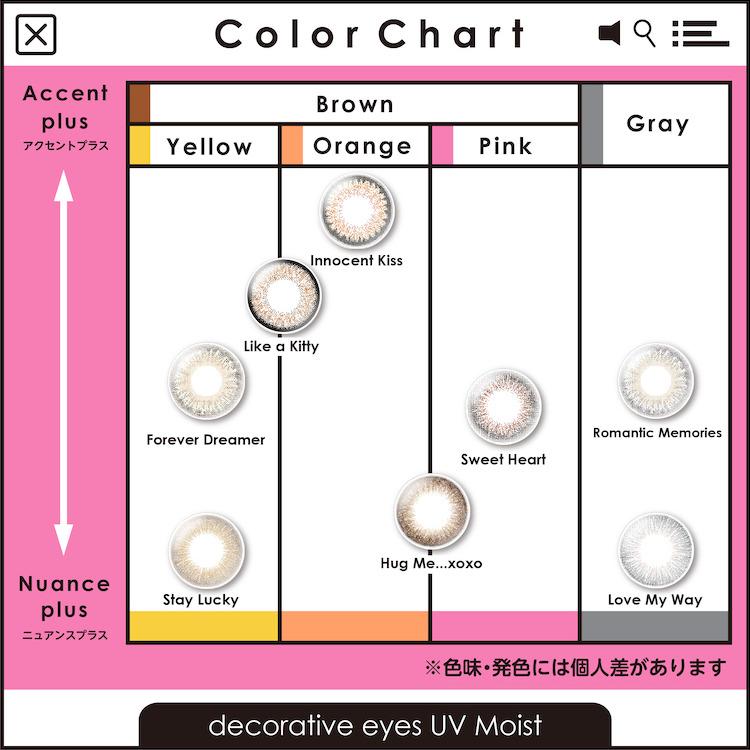 デコラティブアイズ UV モイスト 全色カラーチャート